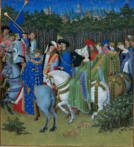 Très Riches Heures du Duc de Berry calendar image for May, MS 65 in the Musée Condé, Chantilly, France