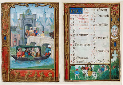 An image from a medieval book of hours showing a boating scene on one page and the calendar of holy days and feasts for May on the other page
