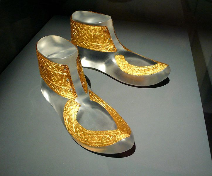 http://en.wikipedia.org/wiki/File:Hochdorf_golden_shoes_ornaments.jpg