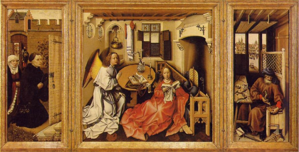Workshop of Robert Campion Annunciation Tryptych (Merode Altar piece)