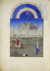 October from Très Riches Heures du duc de Berry; Musée Condé, Chantilly, France. MS. 65 f. 10v showing the labor of October; sowing the winter wheat.